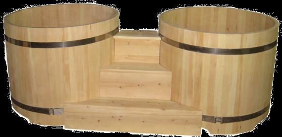 двойные круглые купели из кедра с лесенкой и подиумом сибирь