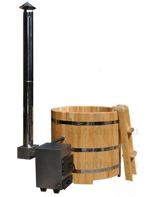 внешняя печь для офуро - вариант установки с купелью