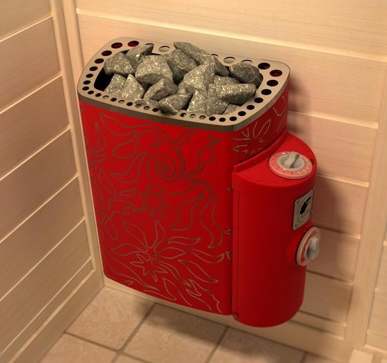 электрическая печь для сауны Sawo Mini Dragon red