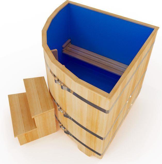 Угловая купель из кедра 130*130*120 см (высота 120 см) с пластиковой вставкой
